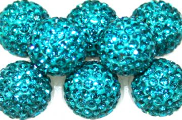 12mm Teal 130 Stone Pave Crystal Beads- Half Drilled  PCBHD12-130-008